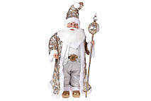 Новогодняя декоративная Санта 71см, цвет - шампань с серебром
