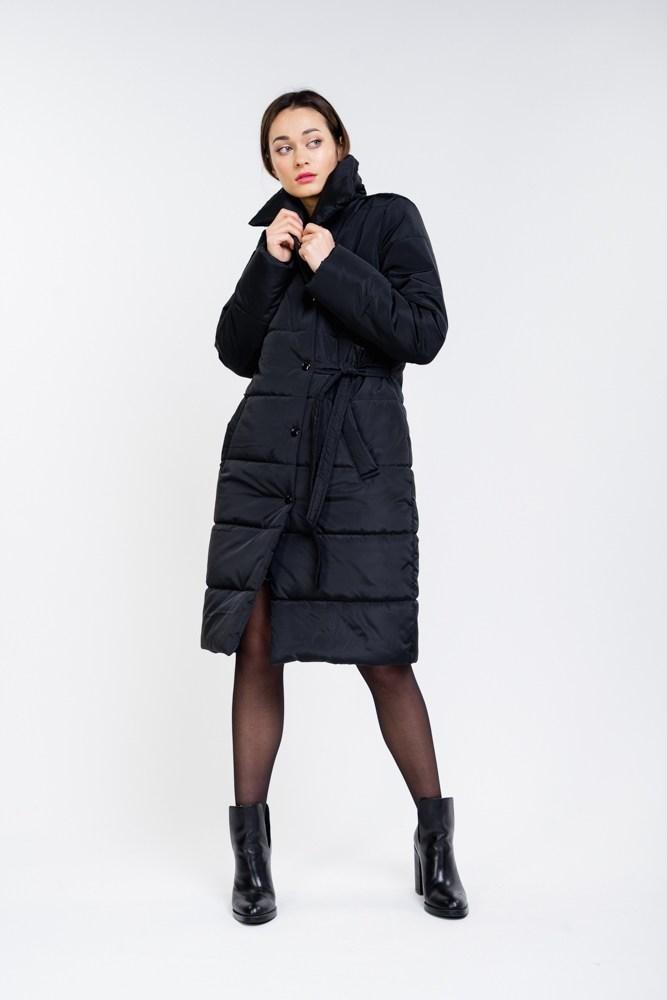 Жіноча довга тепла эврозимняя куртка на кнопках по коліно
