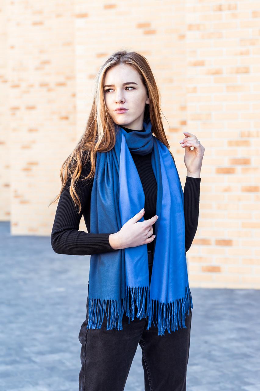 Большой синий двусторонний кашемировый палантин LEONORA