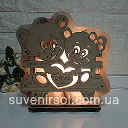 Соляна лампа Ведмедики на лавочці