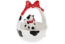 Конфетница керамическая 720мл в форме корзины с фигуркой Веселая коровка