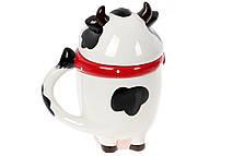 Кружка керамическая 460мл с фигурной крышкой Веселая коровка