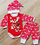 Детский костюм Бодик, шапочка и штанишки Новогодний Оленёнок с начёсиком, фото 2