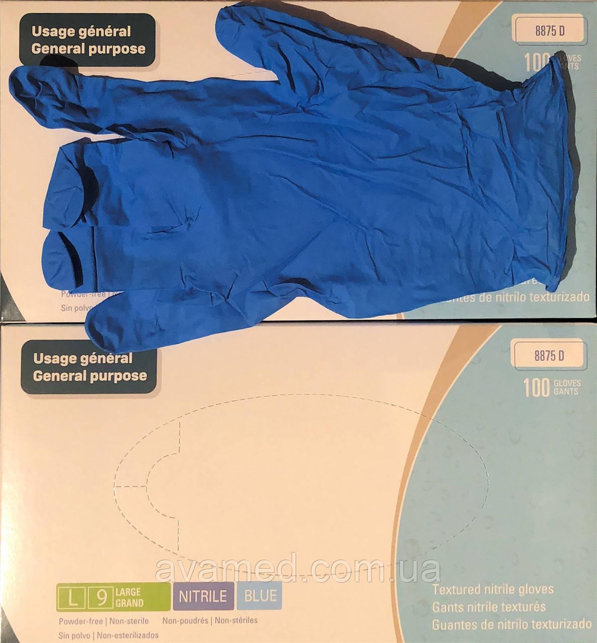 Перчатки MEDICOM SafeTouch нитриловые неопудренные синие размер L (100 штук)
