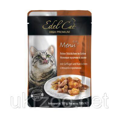 Влажный корм для кошек Edel Cat pouch 100 г (птица и кролик в желе)