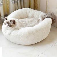 Лежак для кошек и собак, лежанка-подушка, кровать цвет молочный М 50 см до 4 кг молочный/белый цвет