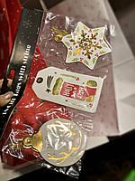 Бирки картонные новогодние 10 х 6см, комплект 4шт.