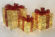 Набор декоративных подарков (3шт) с подсветкой, 20см, 25см, 30см, цвет - золото с красным