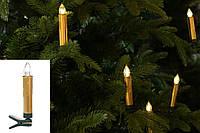 Набор декоративных свечей (10шт) с пультом ДУ, LED свет теплый белый, 11см, цвет - золотистый