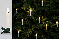 Набор декоративных свечей (10шт) с пультом ДУ, LED свет теплый белый с эффектом мерцания натуральной свечи,