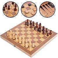 Набір ігор Шахи, шашки та нарди 3 в 1 дерев'яні класичні Zelart 30 x 30 см Коричневий (W3015)