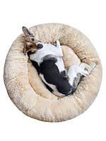 Лежак для кошек и собак, лежанка-подушка, кровать M 50 см до 4 кг светло-бежевый цвет, фото 2