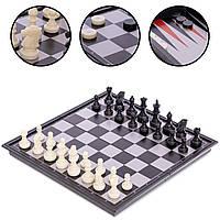 Набор игр Шахматы, шашки и нарды 3 в 1 дорожные пластиковые магнитные Zelart 25 x 25 см Черный (IG-38810), фото 1