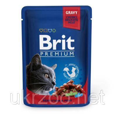 Консервований корм Бріт преміум для котів з тушкованою яловичиною та горохом, 100 г, 100270