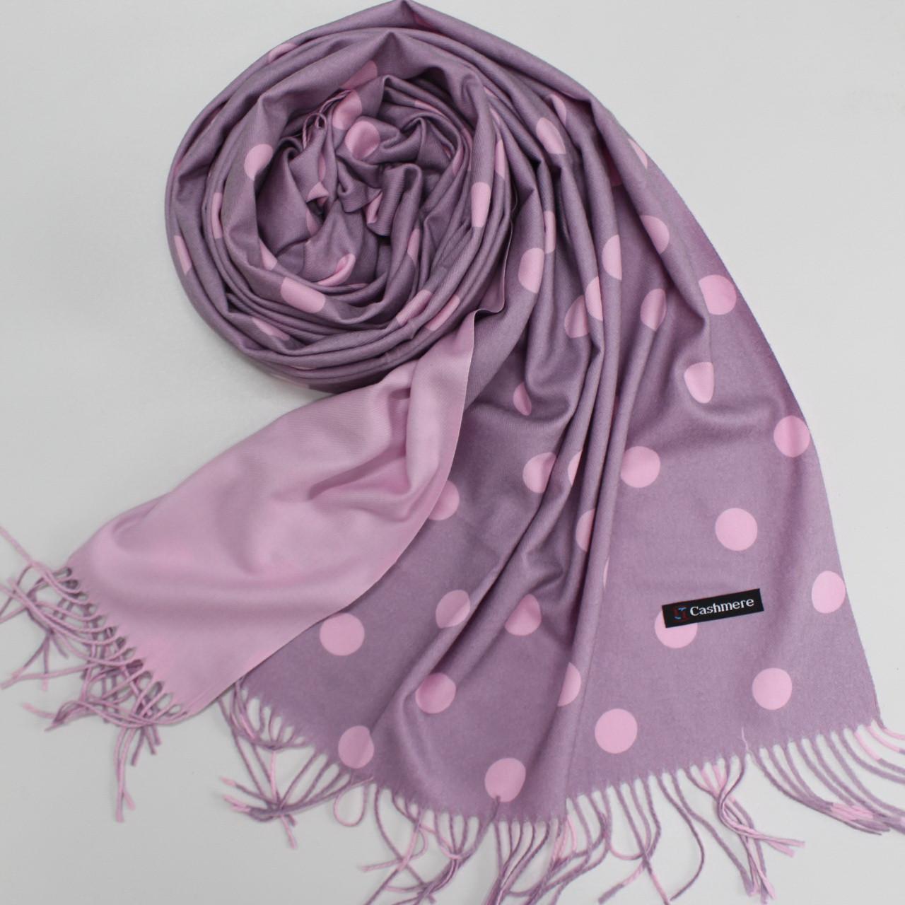 Кашемировый теплый шарф палантин в горошек Cashmere 137004