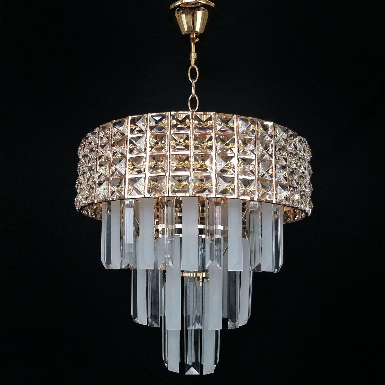 Люстра хрустальная в золоте на 8 лампочек 3-E1859/8