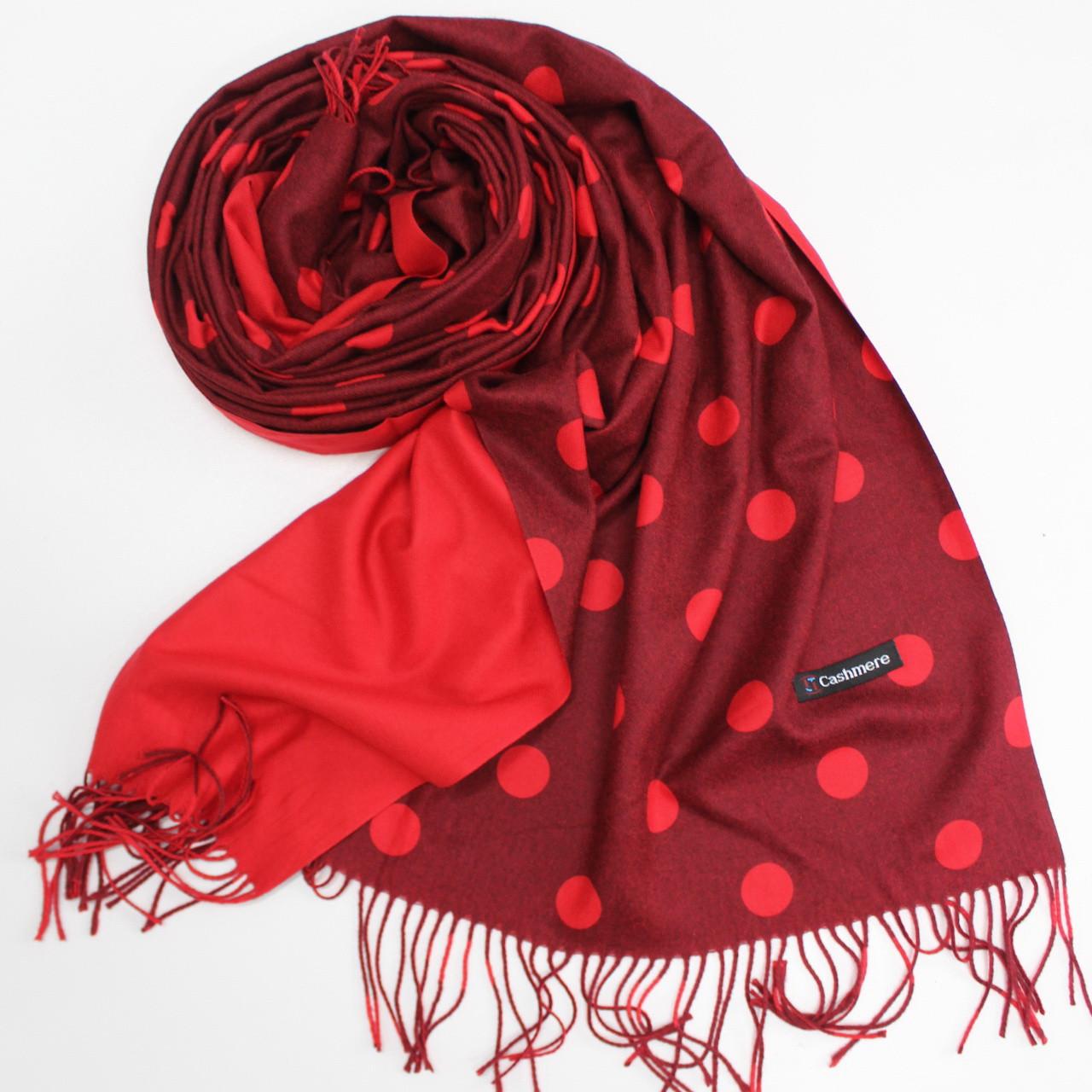 Кашемировый теплый шарф палантин в горошек Cashmere 137007
