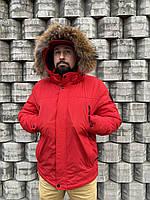 Куртка пуховик пальто парка Аляска с мехом красная мужская зимняя молодежная тёплая легкая длинная баттал