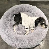 Лежак для кошек и собак, лежанка-подушка, кровать XL 70 см до 12 кг серый цвет