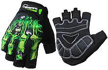 Перчатки для тренажерного зала велосипеда HC-FG507 безпалые зеленые