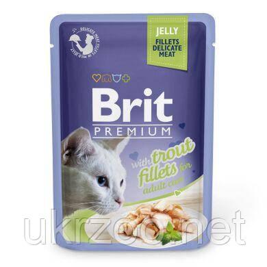 Консервований корм Бріт преміум, філе форелі в желе, 85 г, 111243