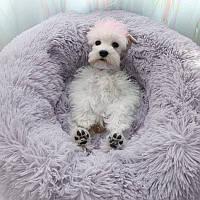 Пушистый лежак (лежанка) для кошек и собак 50 см,. Спальное место для домашних животных цвет серый.