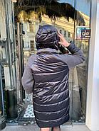 Черный пуховик с капюшоном Visdeer 808-E-02, фото 3