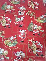 Упаковочная бумага новогодняя красная с рисунком дед мороз