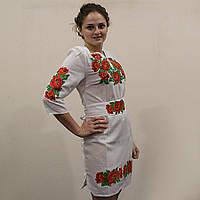 """Жіноча сукня з вишивкою хрестиком """"Маки"""" домотканне полотно"""