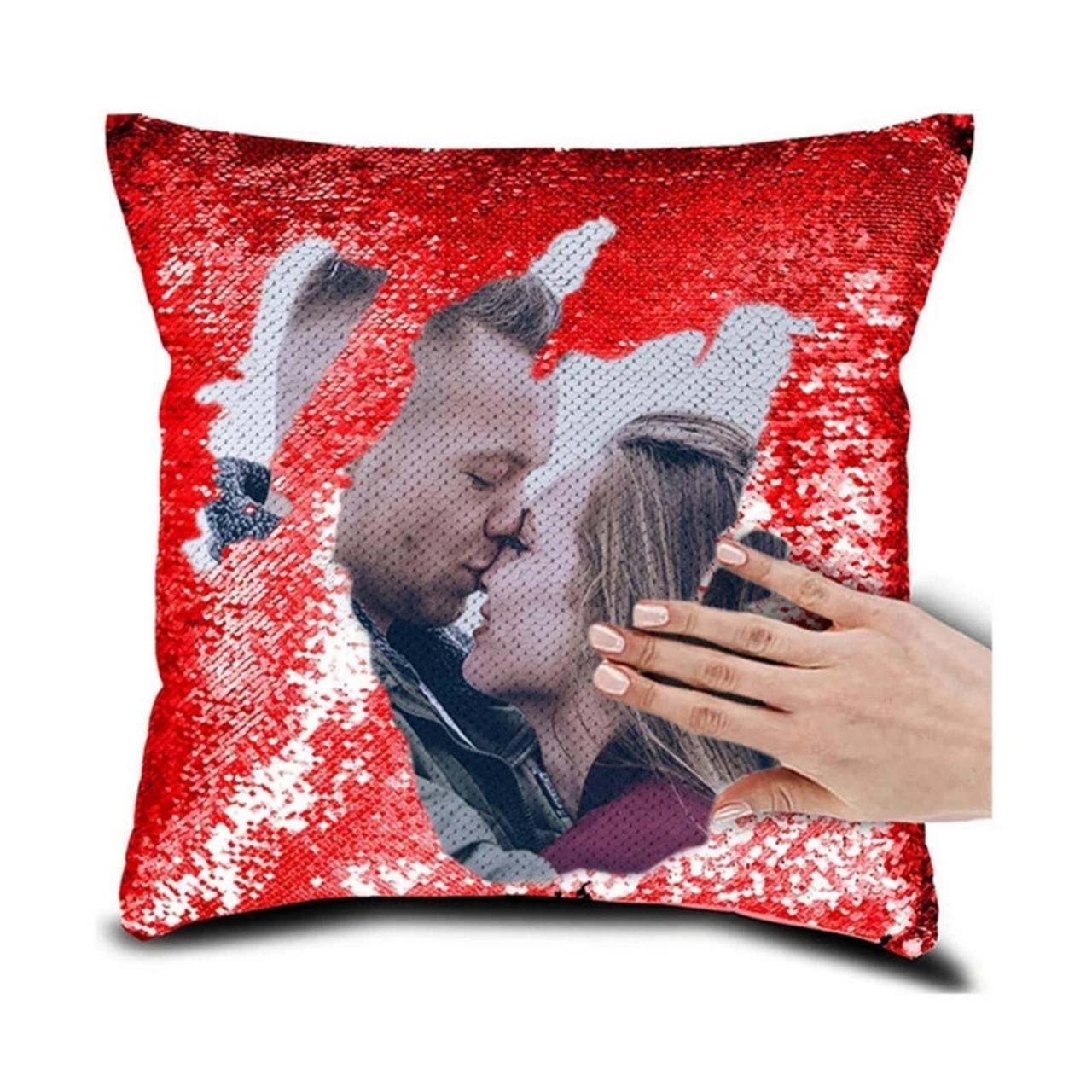 Печать фото на подушке с пайетками. Подушка антистресс