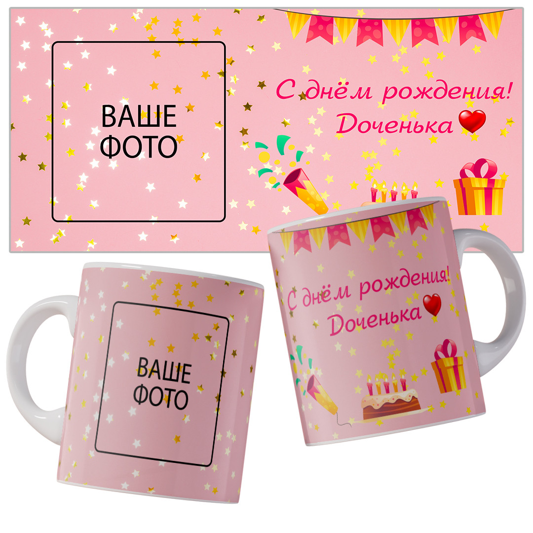 Чашка-привітання з днем народження для доньки.