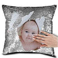 Печать фото или надписи на подушке с пайетками. Подушка антистресс