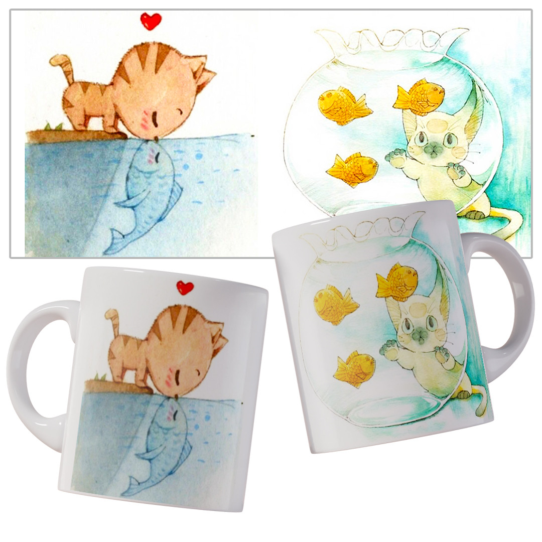 Чашка с милыми акварельными котиками.