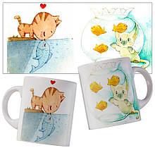 Чашка з милими акварельними котиками.