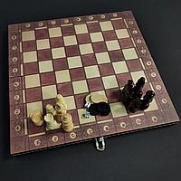 Набір ігор Шахи, шашки, нарди 3 в 1 дерев'яні класичні Xinliye 29 x 29 см Коричневий (XNL-7702)