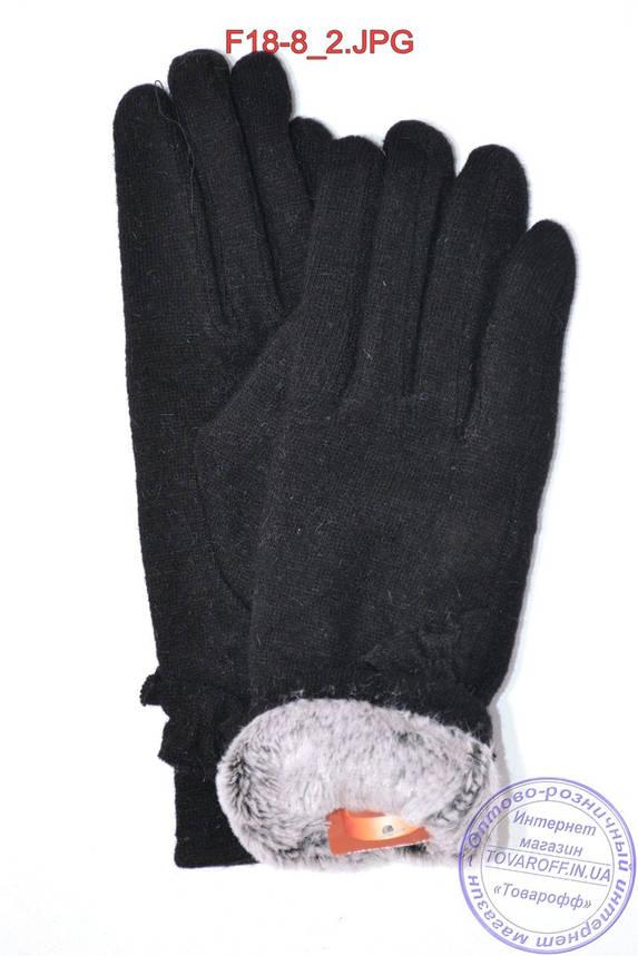 Оптом женские кашемировые перчатки на кролике (мех искусственный) - F18-8, фото 2
