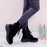 ТОЛЬКО 38,39 р! Женские ботинки ЗИМНИЕ черные с красным натуральный замш, фото 2