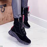 ТОЛЬКО 38,39 р! Женские ботинки ЗИМНИЕ черные с красным натуральный замш, фото 4
