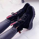 ТОЛЬКО 38,39 р! Женские ботинки ЗИМНИЕ черные с красным натуральный замш, фото 6