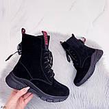 ТОЛЬКО 38,39 р! Женские ботинки ЗИМНИЕ черные с красным натуральный замш, фото 7