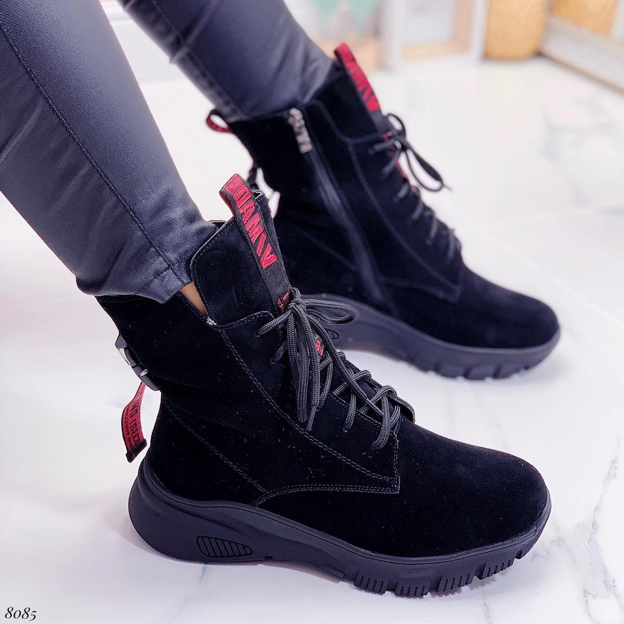 ТОЛЬКО 38,39 р! Женские ботинки ЗИМНИЕ черные с красным натуральный замш