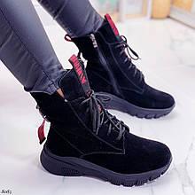 Женские ботинки ЗИМНИЕ черные с красным натуральный замш