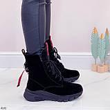 ТОЛЬКО 38,39 р! Женские ботинки ЗИМНИЕ черные с красным натуральный замш, фото 9