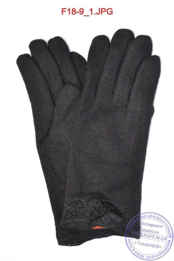 Оптом жіночі кашемірові рукавички на кролика (хутро штучне) - F18-9, фото 2