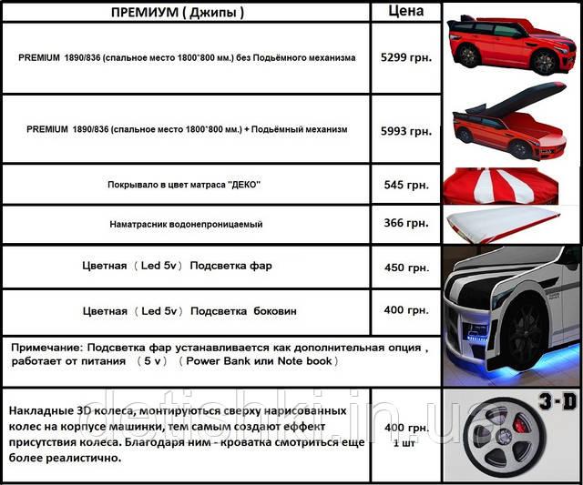 Цены на кровати машины серии Премиум