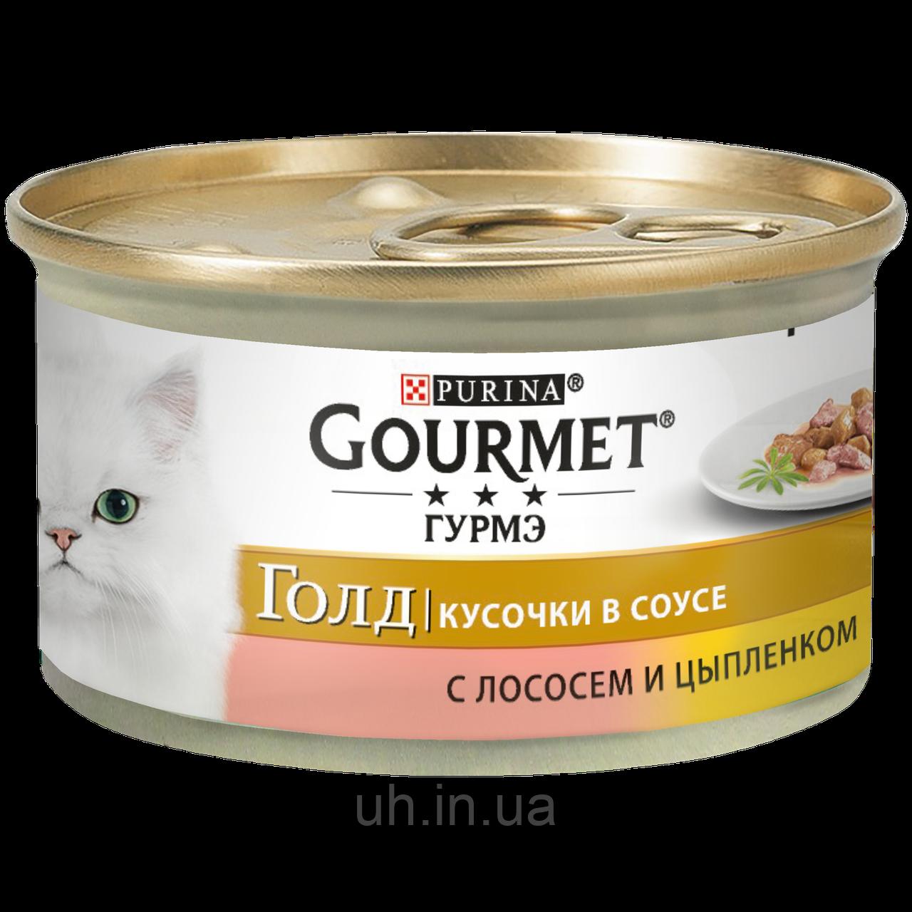 Gourmet Gold Консервы для кошек c лососем и цыпленком 85 гр*24шт
