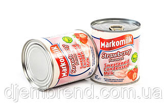 Сгущенное молоко с сахаром и вкусом клубники ТМ Markomilk, 397 гр.