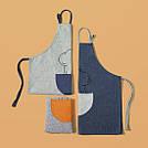 Фартук серый с оранжевым карманом / Фартух 68*66 см, фото 2