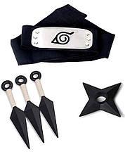 Набор Аксессуаров Наруто 3в1: белые кунаи, налобный протектор, звезда-сюрикен - Naruto Set
