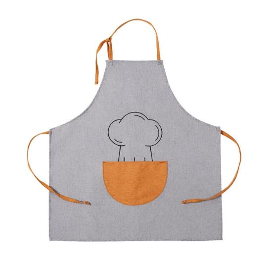 Фартук серый с оранжевым карманом / Фартух 68*66 см